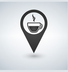 coffee shop location with coffee cup icon vector image