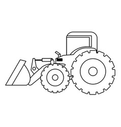 contour backhoe loader icon vector image