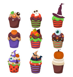 Cupcake set happy halloween scary sweets vector