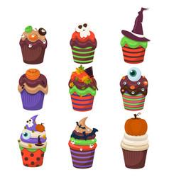 Cupcake set happy halloween scary sweets vector