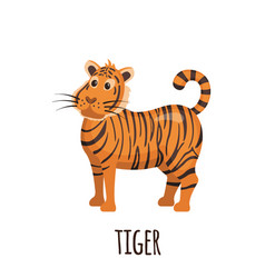 Cute tiger in flat style vector