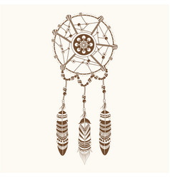 dream catcher ornament boho vector image