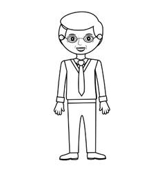 Elderly man standin with formal suit vector