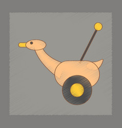 Flat shading style icon kids duck vector