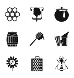 Honey production icons set simple style vector
