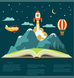 Imagination concept open book with a mountain vector