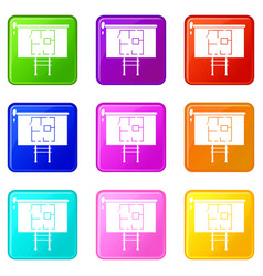 Project of house on a board icons 9 set vector