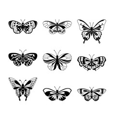 set of black butterfly silhouettes vector image vector image