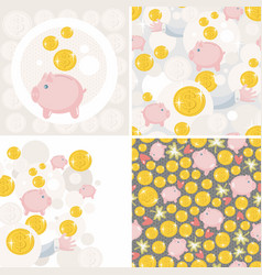 Set of seamless patterns with toy pig and money vector