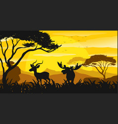 Silhouette scene with gazelle and moose at sunset vector