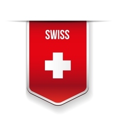 Swiss flag ribbon vector