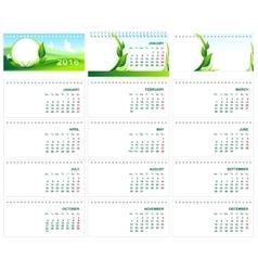 Table desk calendar 2016 green template calendar vector