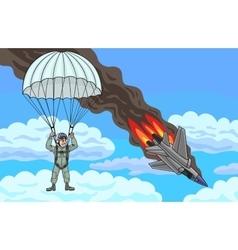 The pilot descends by parachute vector