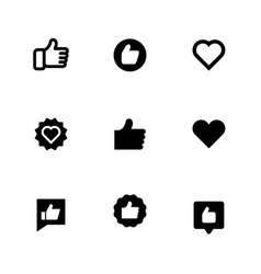 thumbs up and heart signs flat icons vector image vector image