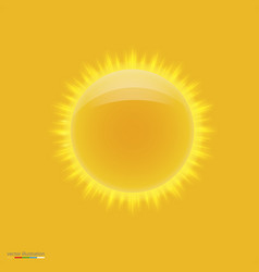 Yellow hot sun with beams vector