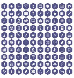100 paint icons hexagon purple vector