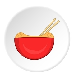 Noodles with chopsticks icon cartoon style vector