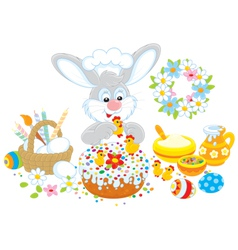 Easter bunny decorates a fancy cake vector