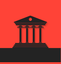 Black greek colonnade on red background vector