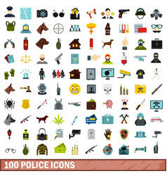 100 police icons set flat style vector