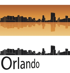 Orlando skyline in orange background vector