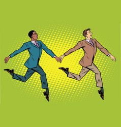 Businessmen elegantly moving multi-ethnic group vector