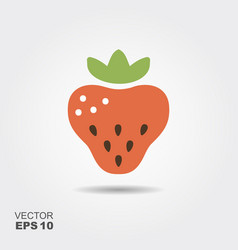 Strawberry flat icon with shadow vector
