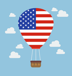 Hot air balloon with usa flag vector