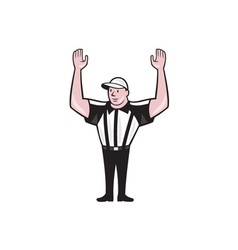 American football referee touchdown cartoon vector