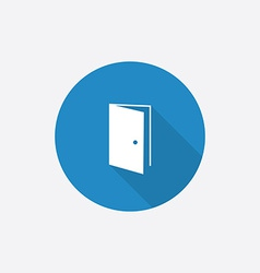 Open door flat blue simple icon with long shadow vector