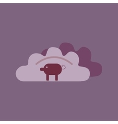 Flat with shadow icon dumplings and pork vector