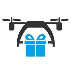 Gift drone delivery icon vector