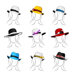 female summer hats vector image