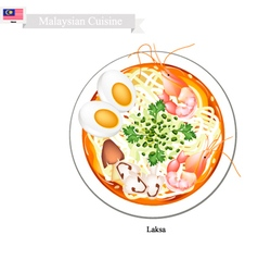 Laksa or malaysian spicy rice noodle soup vector