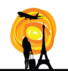 Girl with tour eiffel silhouette vector