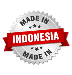 Made in indonesia silver badge with red ribbon vector