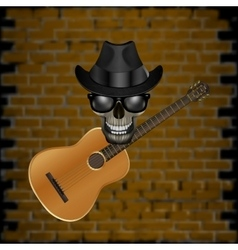 Skull blues with brick and hat guitar vector