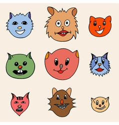 Adorable Cartoon Cats Faces vector image