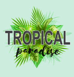Background with green palm leaves vector