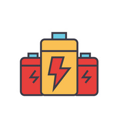 battery energy power flat line vector image