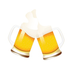 Beer mugs with splashing foam vector image