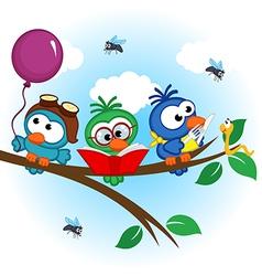 Birds on tree reads eats on balloon vector