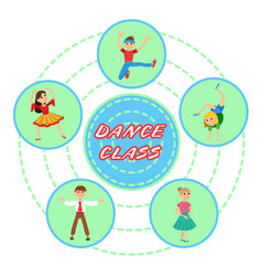 children dancing round icons set vector image vector image