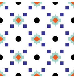 Geometric eastern motif blue and white seamless vector