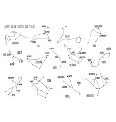 hand draw horoscope constellations all zodiac vector image