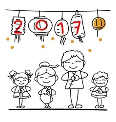 Hand drawn cartoon chinese people chinese new year vector