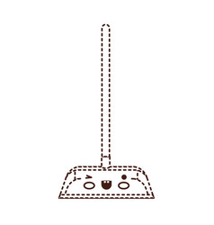 Kawaii dustpan with wooden stick in brown dotted vector