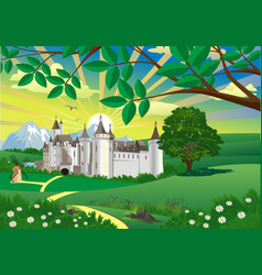 Landscape - countryside castle mountains in the vector