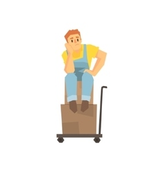 Man sitting unhappy on pile of boxes on cargo cart vector