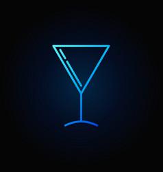 martini glass blue icon vector image vector image